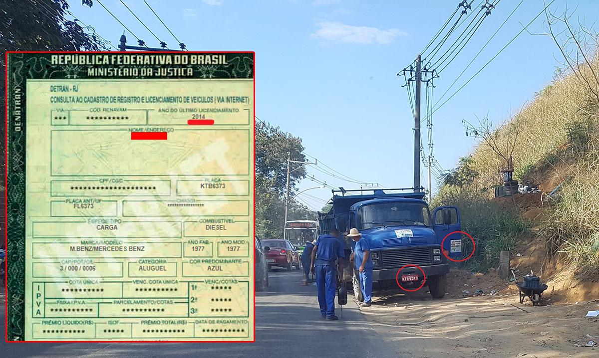 De acordo com o sistema do Detran este caminhão fez o último licenciamento em 2014. Pela lei não deveria estar circulando, mas esta, em Nova Iguaçu, ao que parece, só se aplica aos condutores de veículos particulares